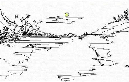 Gerrie's digital pen & ink image Sun Scene